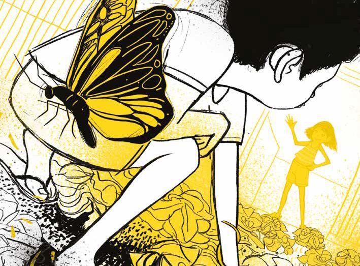 Borboleta, menino mexendo na horta e menina acenando, ao fundo. Página 40 do livro Metade pai, metade mundo. Imagem ilustrativa texto tarefas domésticas crianças.