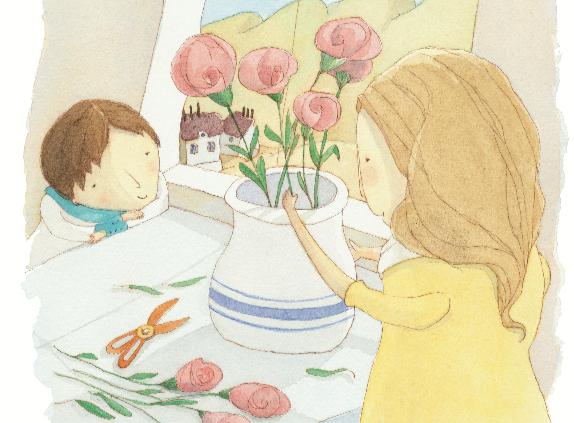 Mãe ajeitando vaso de flores e menino olhando. Página 8 do livro Como natureza. Imagem ilustrativa texto Dia da Mães.