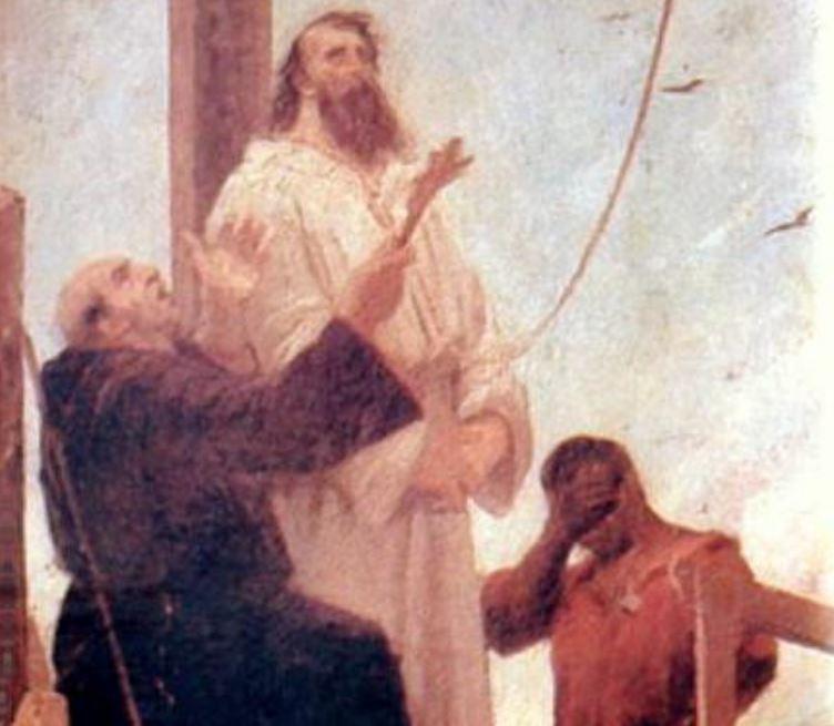 Tiradentes sendo levado à forca, com pessoas orando. Imagem ilustrativa texto Tiradentes.