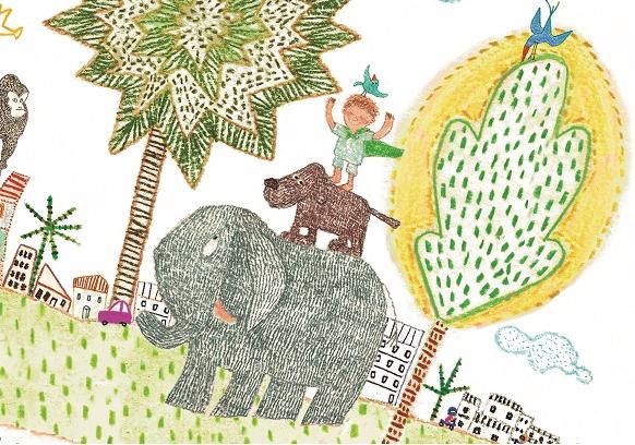 Pássaro sobre menino sobre cachorro sobre elefante. Imagem ilustrativa texto Cada um no seu lugar.