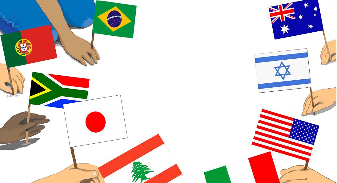 Mãos segurando bandeiras. Terra mãe, páginas 32 e 33. Imagem ilustrativa texto união entre povos.