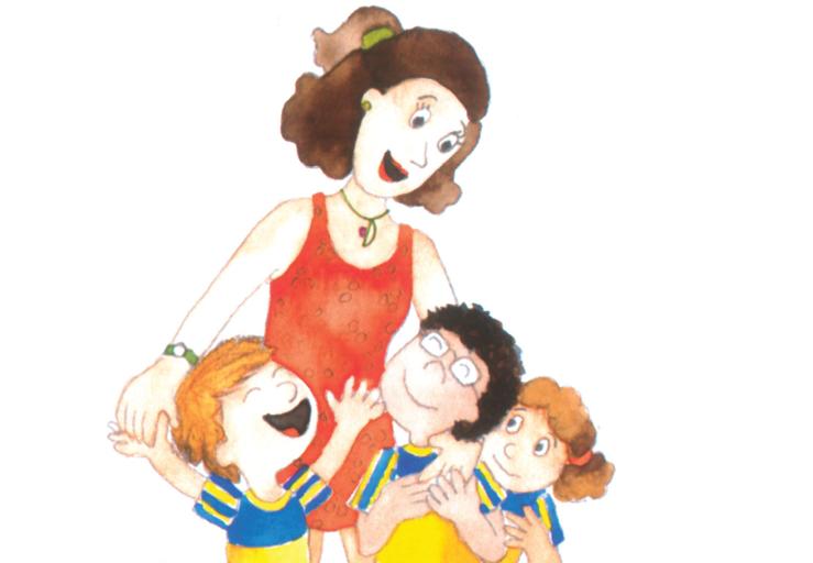 Professora abraçando os alunos, com borboleta voando. Página 22 do livro Que ideia, professora!. Imagem ilustrativa texto professores.
