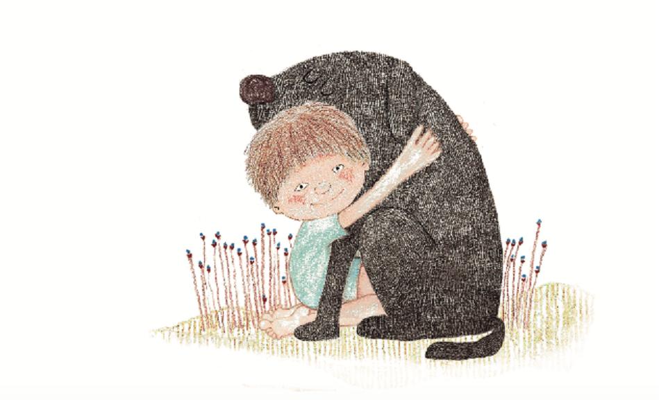 Menino abraçando cachorro. Página do livro Cada um no seu lugar. Imagem ilustrativa texto leitura e inteligência emocional.