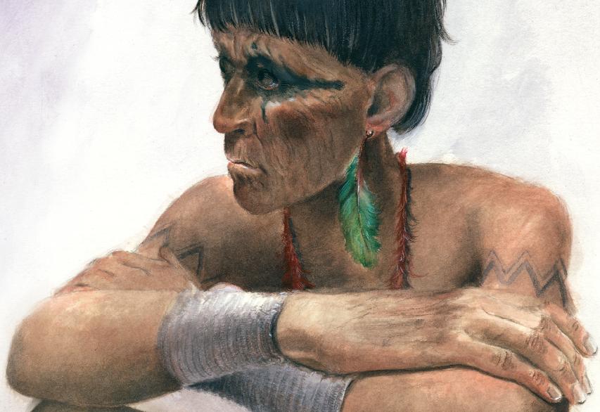 Índio sentado, de braços cruzados. Página 31 do livro A lenda dos dinossauros. Imagem ilustrativa texto fatos históricos e ficção.
