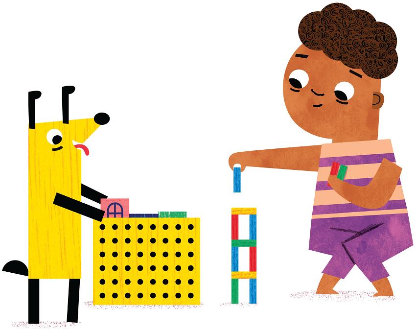 Cachorro e menino apertado para fazer xixi montando torre com bloquinhos. Página 5 do livro Enchente.