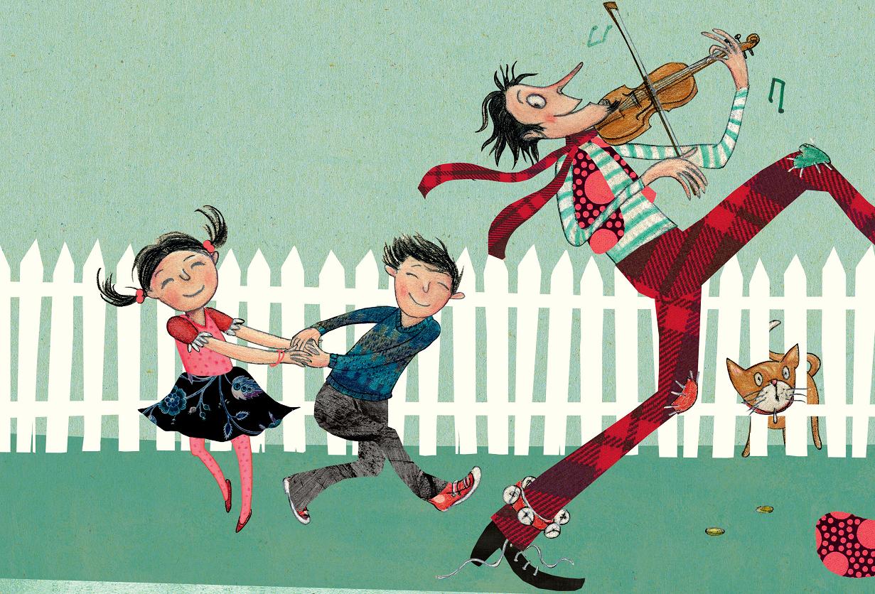 Homem tocando violino, crianças e animais dançando. Página 26 do livro A grande viagem de Rosita. Imagem ilustrativa texto incentivar o gosto pela música.