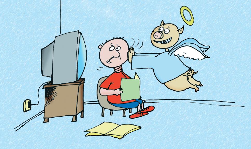 Menino tentando estudar, e porco anjinho empurrando a cabeça dele para a TV. Página 8 do livro Espírito de porco. Imagem ilustrativa texto Nani.