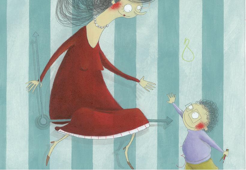 Mulher sentada no ponteiro do relógio e criança. Página 21 do livro A professora encantadora. Imagem ilustrativa texto livros para crianças e adultos.