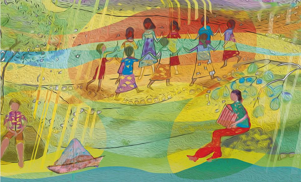 Pessoas dançando e outra tocando sanfona. O menino que inventou o sertão, página 29. Imagem ilustrativa texto cultura mineira.